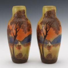 Pair Legras Enameled Vases