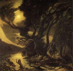 Siegfried and the Rhine Maidens by Albert Pinkham Ryder, American 1847-1917