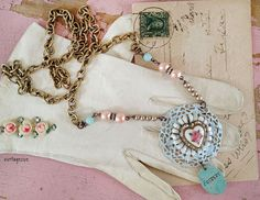 shabby heartupcycled pin turned pendant shabby distressed by Arey, $26.00