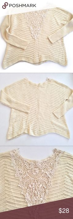 ⭐️ Crochet Lace Back Cream Sweater New listing! Info coming soon! JustFab Sweaters Crew & Scoop Necks