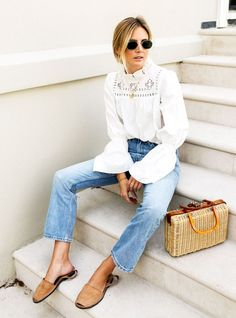 Summer outfit ideas: Lucy Williams white blouse and Levi's