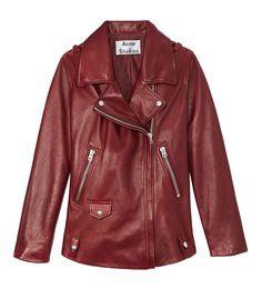 ShopBazaar Acne Dark Red Swift Leather Jacket MAIN