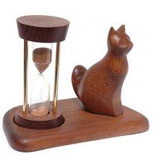 Wooden Hourglass CAT. Wooden Sand Clock  от Tobaccopipesshop