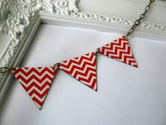 Red Chevron Bunting Necklace