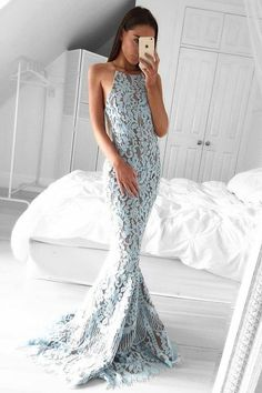 mermaid prom party dresses, chic baby blue lace formal gowns, elegant halter evening dresses.