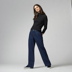 Love the tighter polo top with wide legged jeans  Warehouse, Super Wide Cut Jeans Indigo Denim 1