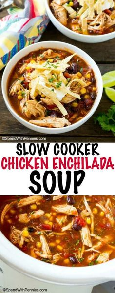 This slow cooker Chicken Enchilada Soup is loaded with beans and veggies and is topped off with your favorite Mexican fixings. The perfect meal for a busy weeknight!