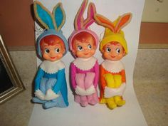 3 VINTAGE ELF PIXIE EASTER BUNNY KNEE HUGGERS THE CUTEST A MUST SEE