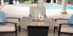 """The Madrid 48""""x48"""" square fire table by Firetainment, for cooking, dining and relaxing. #firetainment"""