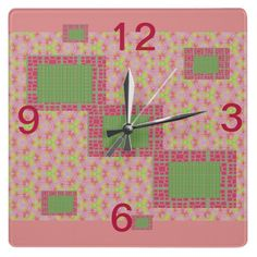 water melon kisses, Katina has combined many of her fabulous graphic designed patterns and came up with this water melon kisses clock, this would look great in a little girls room, or anywhere for that matter, very unique, one of a kind designed by Katina Cote/self taught artist in Maine.  come see her designs if there is something you want made please feel free to contact me via facebook  http://facebook.com/katinacote