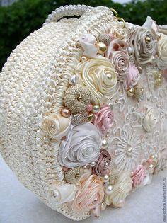 Fabric Handbags, Crochet Handbags, Crochet Purses, Handmade Handbags, Handmade Bags, Handmade Flowers, Lace Bag, Flower Bag, Wedding Bag