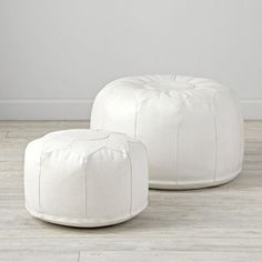 Faux Leather White Mini Pouf | The Land of Nod