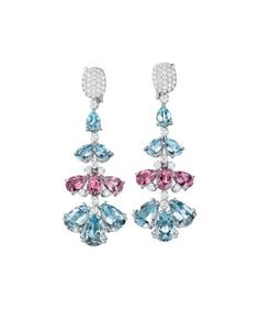 MARGHERITA BURGENER. A Pair of Aquamarine, Pink Tourmaline, and Diamond Ear Pendants Each designed as a graduating line of pear-shape aquamarine and pink tourmaline tiers, enhanced by circular-cut diamonds, suspended from a pavé-set diamond surmount, mounted in 18K white gold, length 2 3/8 inches.