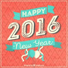 Happy 2016 card in vintage style I Free Vector