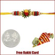 Beads Rakhi to Canada  with Free Silver Coin