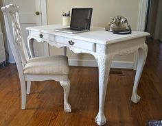 Ball Claw Desk Painted In Old White With Matching Chair Gorgeous Shabby