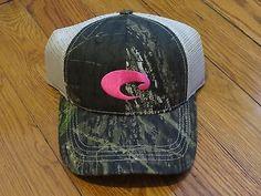 NWT Costa Del Mar Womens Camo Pink Sewn Logo Authentic Hat Cap