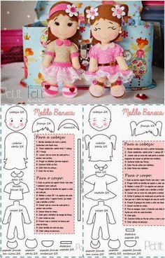 ARTESANATO COM QUIANE - Paps,Moldes,E.V.A,Feltro,Costuras,Fofuchas 3D: Bonecos e Bonecas