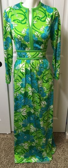 Vtg Keram Maxi Dress Floral Polyester Long Sleeve Maxi 60s 70s Hippie Mod #Keram #Maxi #Party