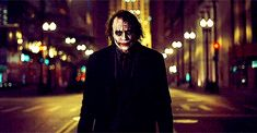 As he approaches an ailing Batman, The Joker (Heath Ledger) casually tosses a knife during a scene from the 2008 film The Dark Night.