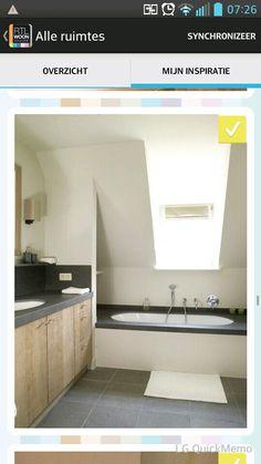 Badkamer • landelijk • rustiek • houten badkamermeubel • dubbele ...