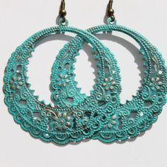 Hey, I found this really awesome Etsy listing at https://www.etsy.com/listing/205962750/turquoise-earrings-patina-dangle-hoop