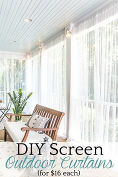 How to protect your porch from bugs using this quick and cheap solution for DIY . - How to protect your porch from bugs using this quick and cheap solution for DIY outdoor curtains. Mosquito Curtains, Diy Curtains, Mosquito Netting Patio, Porch With Curtains, Outdoor Curtains For Patio, Balcony Curtains, Porch Ceiling, Outside Curtains, Diy Patio