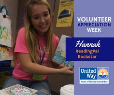 It's National Volunteer Week! Today we're giving a shout out to Hannah, one of Central Avenue Elementary School's star volunteers. She began as a ReadingPal reading to VPK students but her impact did not stop there. She has also created a model classroom, assisted in the media center and been a classroom assistant to many teachers. Thanks for all your hard work Hannah, you are making a difference in lives of many children!
