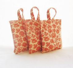Set of thee 3 lavender sachets Pink flower sachets by Akamatra, $20.00
