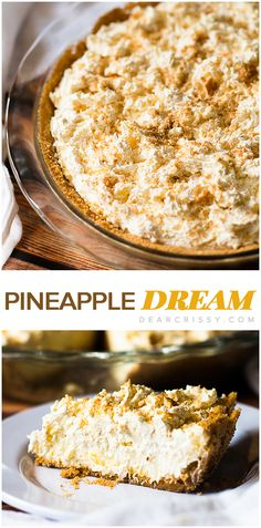 Pineapple Dream Pie - Fluffy pineapple cheesecake and whipped topping layers piled on sweet, crispy vanilla wafer crust? You do not want to miss this heavenly pie recipe, you will not beLIEVE how cool, sweet and creamy it tastes. Pineapple Dream Pie Recipe, Pinapple Pie, Pineapple Dream Cake, Pineapple Dessert Recipes, Pie Dish, Pie Dessert, Brownie Desserts, Mini Desserts, Just Desserts