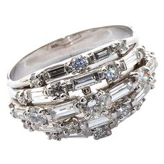 OSCAR HEYMAN diamond and platinum bombe ring