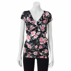 Candie's Floral Ruffled Top - Juniors