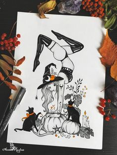 Glossy print with my drawing Wicked IIts measuring 12 x 8 Inches or 30 16 inches or cm Postcard inches or There are no watermarks on actual print, only on photo to protect it from stealing. The print is done on canon glossy photo paper, ensuring great Halloween Tattoo, Halloween Art, Halloween Things To Draw, Cute Halloween Drawings, Art Drawings Sketches, Tattoo Drawings, Witch Tattoo, Witch Art, Body Art Tattoos