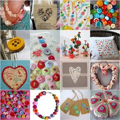 1. Necklace of Buttons, 2. Buttons bag wood, 3. Vintage Buttons, 4. Buttons, 5. Giant button in Brugge, Belgium, 6. Floral Buttons Needlecas...