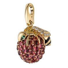 """Bee"" charm, yellow gold, pink gold, tsavorite garnets, yellow sapphires, black lacquer, rubellites, and diamonds by Cartier"