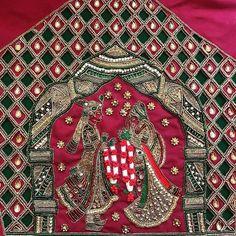 Beautiful bride and bridegroom design hand embroidery thread and bead kundan work. 20 January 2018