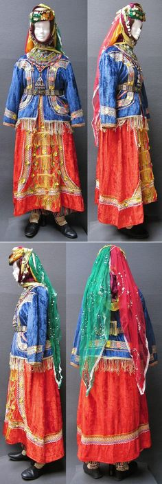 Traditional bridal costume from Türkmen villages in the Dinar district (Afyon province), e.g. in the valley of Çölovası.  Style of the mid-20th century.  (Kavak Costume Collection-Antwerpen/Belgium).