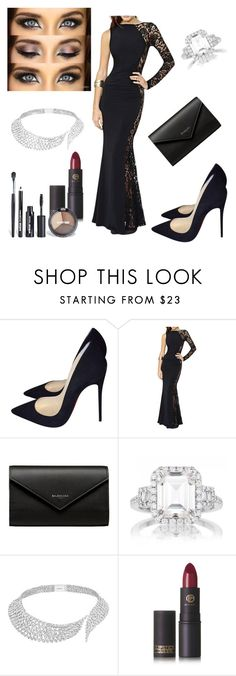 """Untitled #603"" by armsdani ❤ liked on Polyvore featuring Christian Louboutin, Balenciaga, Messika, Lipstick Queen and Avenue"