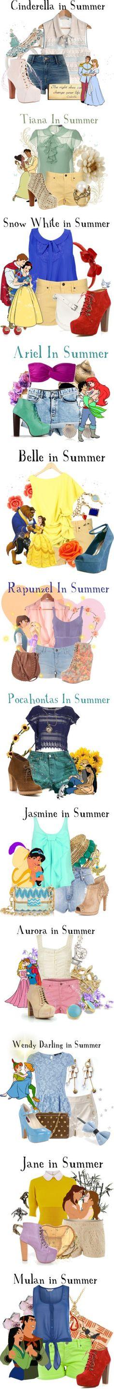 Disney princess fashion...In summer un'estate da favola e principessa Disney un completo piu' bello dell'altro...fantastici!!