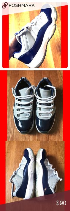 Air Jordan 11's Georgetown Low Size 8.5 in good condition. One small scratch on the right shoe (shown on last pic) other than that, the whole pair is in great condition. Jordan Shoes Sneakers