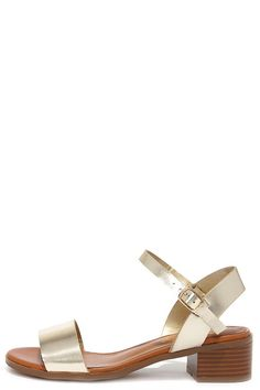 metallic ankle strap sandals with a low block heel #summer #shoes