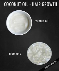 Add two tbsp. of coconut oil to one tbsp. Of aloe Vera gel. Mix these ingredients well; you can also blend it in a blender to get a smooth paste for easy application. After everything is mixed start applying it on your roots and strands. Cover your head with shower cap and keep it overnight so that the hair-mask can penetrate deeply. This mask is highly conditioning, nourishing and it also promotes hair growth. #coconut #aloe #mask #hair #growth #beauty #natural #overnight #theindianspot