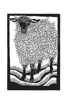 Print of 'Herself' paper cutting. Printed on 11 x 17 80 lb archival paper with extra borders for framing. Signed and dated by me :) This print fits in a standard 11 x 17 frame. Print will be shipped in mailing tube. Paper Cutting, Sheep Crafts, Sheep Art, Illustration Art, Illustrations, Sheep And Lamb, Linocut Prints, Wire Art, Printmaking