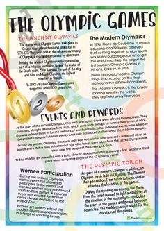 The Olympic Games – Comprehension Task Teaching Resource