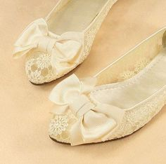 Wedding Shoes - French Knotwork Lace 1/2 inch Heels - Pearls and ...