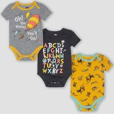Seuss Short Sleeve Bodysuits - Yellow/Gray : Target Source by kardiokarol Grey Bodysuit, Baby Outfits, Toddler Outfits, Baby Yellow, Cute Baby Clothes, Cute Baby Stuff, Disney Baby Clothes, Unisex Baby Clothes, Clothes