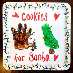 Handprint/Footprint Santa& Cookie Plate (Kids reindeer and christmas tree craft) Handprint/Footprint Santas Cookie Plate (Kids reindeer and christmas tree craft) Christmas Gifts For Parents, Christmas Arts And Crafts, Christmas Activities, Kids Christmas, Holiday Crafts, Holiday Fun, Christmas 2015, Xmas, Holiday Decor