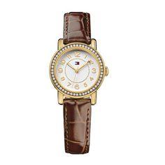 Tommy Hilfiger - Ladies Brown Leather Crystal Set Watch 1781473 - Online Price: £120.00