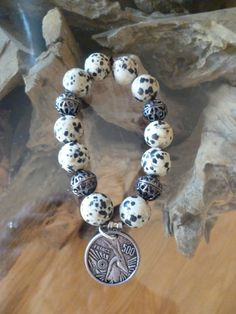 Marble Bead Bracelet with French Francs by VintageMirageJewelry