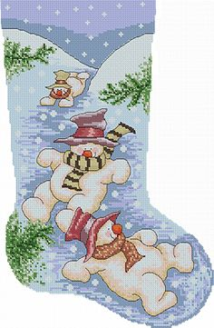 Snowman stocking - Instant Download